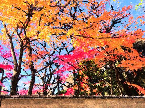 上野東照宮紅葉横-こすり&パレットナイフ&こすり.jpg